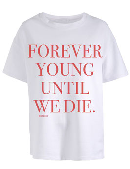 FOREVER YOUNG WHITE TEE - RED