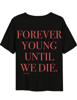 FOREVER YOUNG - BLACK TEE BACKPRINT