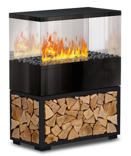 The Flame - Case Effektfeuer - Stahl schwarz mit Echtholzeinlage