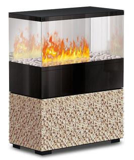 The Flame - Case Effektfeuer - Stein Cubic-Beige - Glas schwarz