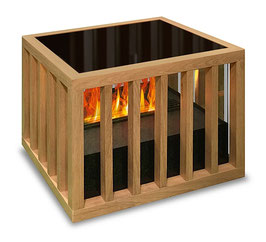 The Flame - SIT Cage XS OAK - Effektfeuer - Hocker