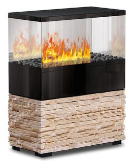 The Flame - Case Effektfeuer - Stein Montana Beige - Glas schwarz