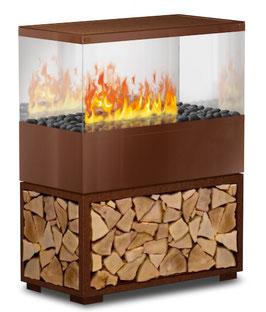 The Flame - Case Effektfeuer - Rostoptik mit Echtholzeinlage