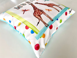 "Personalized Pillow ""Giraffes blue"""