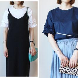 2段フリルスリーブTシャツ ネイビー/ホワイト