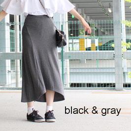 スウェット素材ロングスカート ブラック/グレー