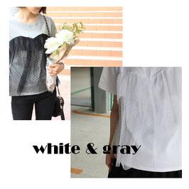 フロントチュールTシャツ ホワイト/グレー