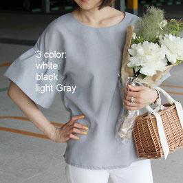 フレアスリーブ半袖ブラウス ホワイト/ブラック/ライトグレー