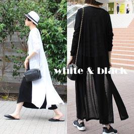 シンプルロングサマーカーディガン ホワイト/ブラック