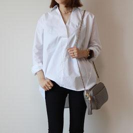 ホワイトオーバースキッパーシャツ