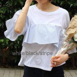 ボリュームフレアTシャツ ホワイト/ブラック/ストライプ