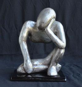 Statue Africaine penseur en bois : Bénin