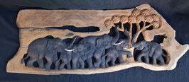 Fresque  5 éléphants en bois  :  Thailande