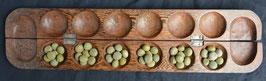 Awalé jeu Africain en bois d' iroko et graines  :  Bénin
