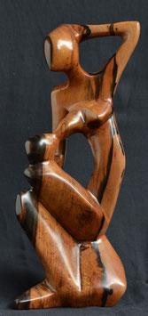 Statuette africaine du Bénin :  La mère & l'enfant