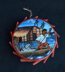 Tambourin instrument de musique Africain enterre cuite et peau  :  Bénin