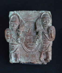 Plaque Africaine Ifé en bronze  :  Bénin city  - Nigéria