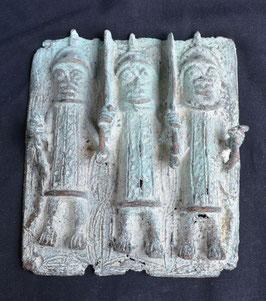 Plaque Africaine en bronze  :  Bénin city  - Nigéria