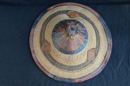 Chapeau africain peul en raphia et cuir :  Bénin