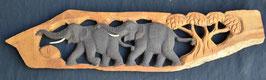 Fresque  2  éléphants en bois  :  Thailande