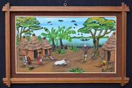 Tableau Africain artiste Béninois  :  A . Charlie