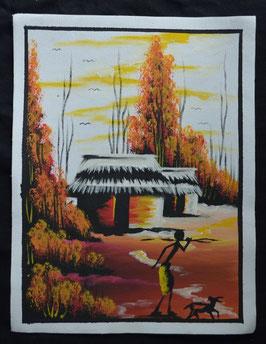 """peinture """"village"""" Africain artiste Béninois"""