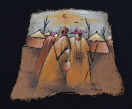 Peinture Africaine artiste Béninois  :  R . Dick