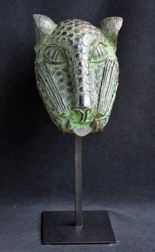 Tête de léopard Africain en bronze  :  Bénin-city  - Nigéria