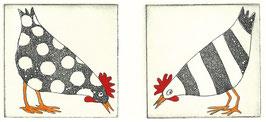 Zwei pickende Hühner