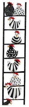 Hühner auf der Leiter