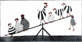 Hühner auf der Wippe
