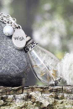 234 Glastropfen mit Pusteblumen und Anhänger Wish