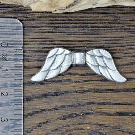 E-18 Metallperle Engelsflügel gross silberfarben, 1 Stück