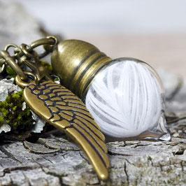 1104 Glashohlperle Spitzflasche mit echtem Federchen bronze