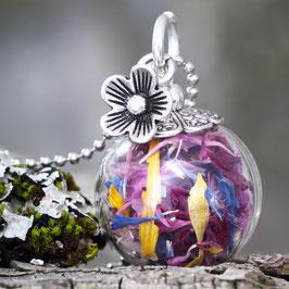 209 kleine Glashohlkugel mit farbigen Blüten und Blümchen-Anhänger