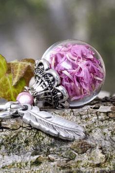 166  mini Glashohlperle mit Kornblumen pink