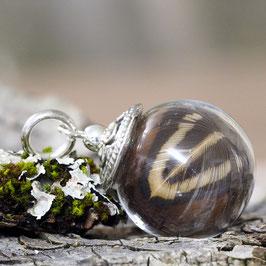 1109O kleine Glashohlkugel mit Federchen Fasan