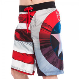 Captain America Shield/Stripes Men's Boardshorts