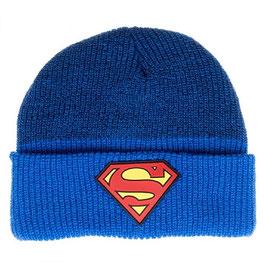 Superman Rubber Logo Marled Cuff Beanie
