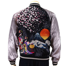 桜と舞妓 柄 刺繍 和柄  スカジャン