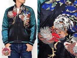 夫婦鶏柄刺繍リバーシブルスカジャン(SSJ-018)