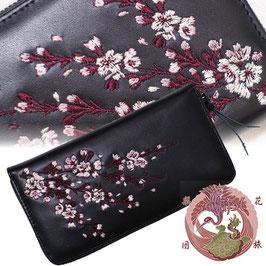 桜 刺繍 牛革 和柄長財布
