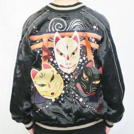 狐面 刺繍 リバーシブルスカジャン
