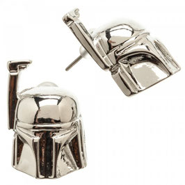 Star Wars Boba Fett 3d Helmet Metal Post Stud Earrings