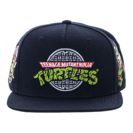 TMNT BLACK SNAPBACK HAT CAP PIZZA TIME SHREDDER NWT