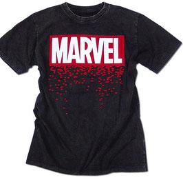 MARVEL  ウォッシュ加工 フロッキープリント Tシャツ