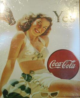 COCA COLA コカコーラ ブリキ看板 (YES 水着の女性)