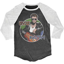 GEORGE MICHAEL FAITH JUNIORS 3/4 SLEEVE RAGLAN BURNOUT WASH