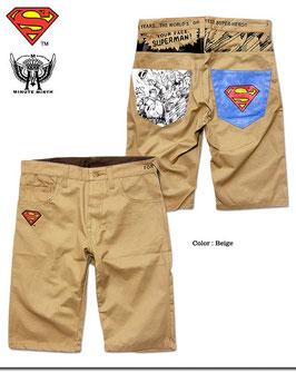 Superman  プリント&刺繍チノショートパンツ(BLUEロゴ)