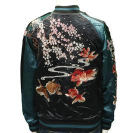 桜金魚  刺繍 和柄 スカジャン